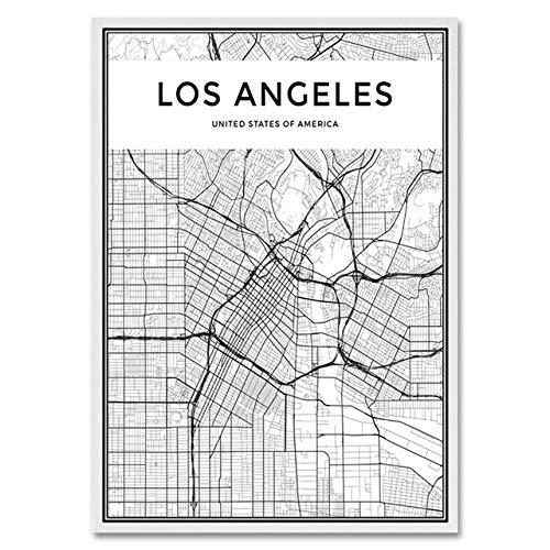 LiMengQi Mapa de ciudades del Mundo en Blanco y Negro, Nueva York, Tokio, París, Póster Artístico en lienzo, Impresiones, Pinturas de Estilo nórdico, Imagen para sala de Estar (No Frame)