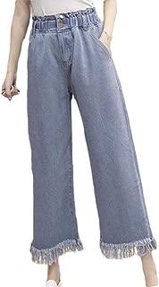 Women's Fashion Lounge Pants Cropped Fringed Plus Size Denim Jeans