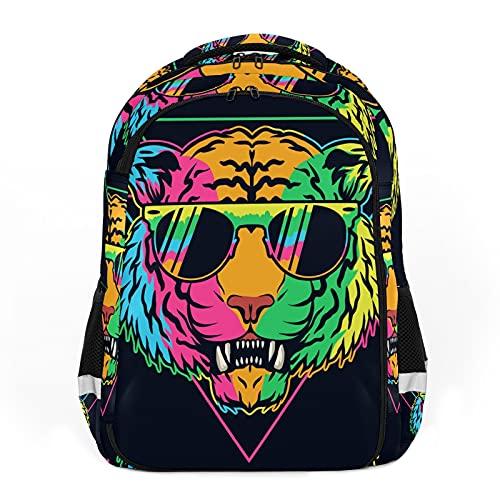 Mochilas de viaje para adultos, mochilas escolares, mochilas adecuadas para todas las edades, mochilas infantiles coloridas con gafas de tigre - Animales de dibujos animados