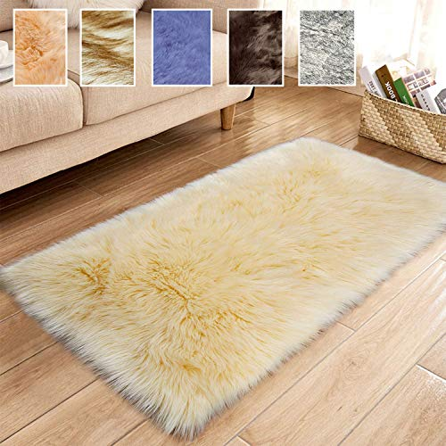 LYYK Small Area Rugs, Sheepskin Rugs for Bedrooms, Soft Simple Modern With Non-Slip Non Shedding, with 8 Non Slip Carpet Suitable As Bedroom Rugs Home Decor - Yellow 90x130cm