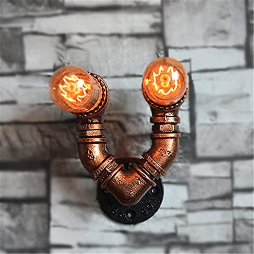 Lámparas De Pared De Tubería De Agua De Metal Retro Vintage De 2 Luces, Apliques De Pared De Hierro Rústico, Enchufe E27, Para Pasillo, Cafetería, Bar, Sala De Estar, Dormitorio
