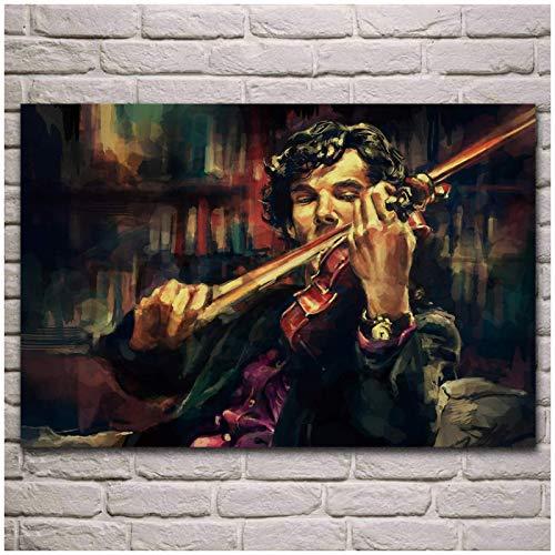 MXIBUN Sherlock Holmes spielt Geige Porträt Kunstwerk Vintage Retro Poster Wohnzimmer Home Wand Kunst dekorative Leinwand Malerei Seide Kunstdruck-24x36inch No Frame