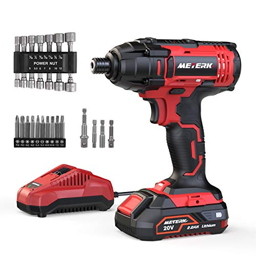 Impact Driver, Meterk 180Nm 20V Cordless Impact Drill, 2.0Ah Rechargeable Battery, 2.4A 60-Min Fast Charger, 21pcs Accessories, 1/4' All-Metal Hex Chuck, 0-2800RPM Variable Speed