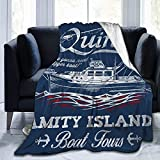 Quints Amity Island Boat Tours - Manta de franela de forro polar para sofá