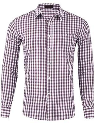 DOKKIA Men's Cotton Sleeved Buffalo Plaid Checked Business Dress Shirt