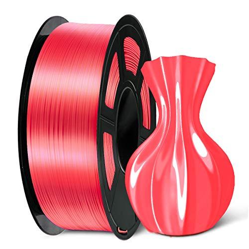 SUNLU 3D Printer Filament Silk PLA+, 1.75mm 3D Filament, 3D Printing Filament Low Odor, Dimensional Accuracy +/- 0.02 mm, 2.2 LBS (1KG) Spool 3D Filament, Red (Candy Dandy)
