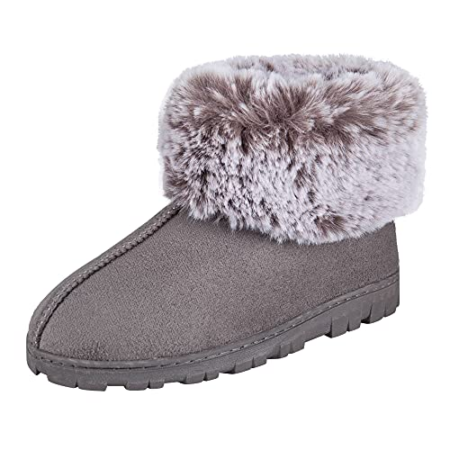 Jessica Simpson Women's and -Girls Microsuede Super Soft Bootie Slippers with Indoor Outdoor Sole, Grey, Large