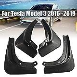 Barture Guardabarros Coche 4pcs / Set Delantero Y Trasero Guardabarros Faldillas Antibarro para Tesla Modelo 3 2016-2019 Accesorios para Coche