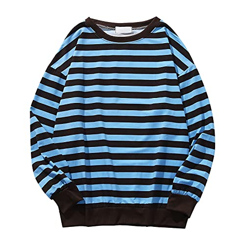 Men's Pinstripe Sweatshirt Casual Stripe Sweater Long Sleeve Rib Sleeve Tops Round Neck Comfy Essentials Pullover Blouse