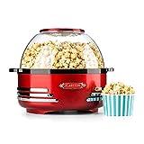 OneConcept Klarstein Couchpotato - Machine à Popcorn, Machine à maïs soufflé, Design rétro années 50, Bol de 5,2 l et Couvercle 2-en-1, cuillère doseuse, Temps de Chauffe Court, halogène, Rouge