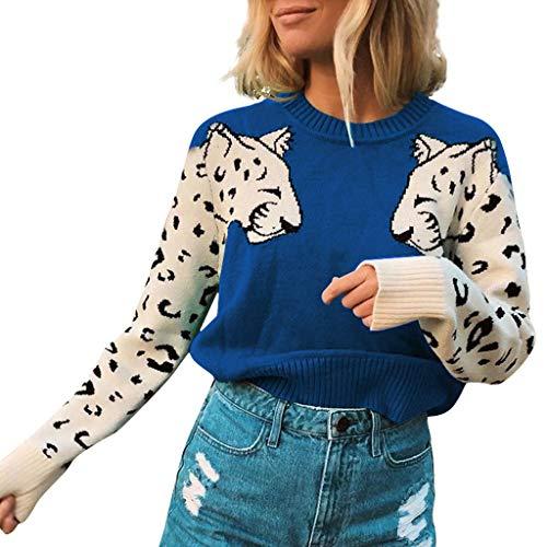 FRAUIT Damen Rundhals Kurz Pullover Patchwork Crop Strick Top Crop Strickpullover Animal Muster Sweater Pulli