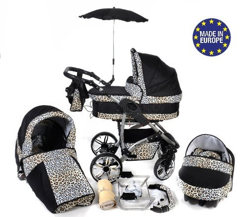 Baby Sportive - Sistema da viaggio 3-in-1 (carrozzina, seggiolino auto e passeggino), con accessori, colore: Nero con fantasia leopardata