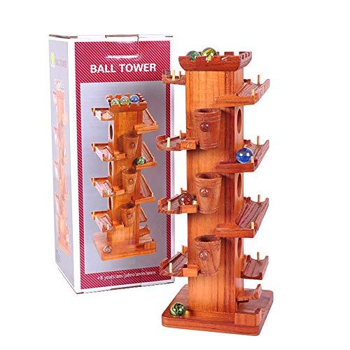 LOVEYue Lustiges Marmorkugellauf-hölzernes Turm-BAU-Bahnspiel Pädagogisches Kinderspielzeug, Perfektes Geschenkset Für Intellektuelles Spielzeug Für Kinder