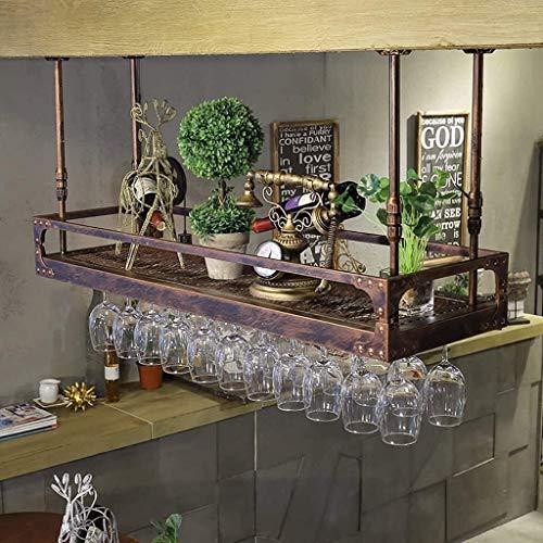 Feeyond Estante para Copas De Vino De Techo, Barra para Colgar, Vidrio Alto, Hierro Forjado Invertido, UVA, Estante para Copas De Vino,60 * 35cm
