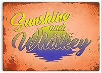 サンシャインとウイスキー金属壁サインレトロプラークポスターヴィンテージ鉄シート絵画装飾ぶら下げアートワーク工芸カフェビールバー20×30インチ