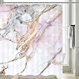 Marmor-Duschvorhang, grau-schwarzer Stein, heller Granit, weiß & rosa, Marmor-Duschvorhang, grauer Marmor, Badezimmervorhang, Mauve Duschvorhang, wasserfester Stoff, Duschvorhanghaken, 177,8 cm