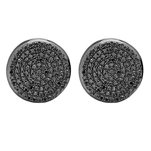 Dazzlingrock Collection - Pendientes de tuerca para hombre, diseño redondo de diamante negro de 0,40 quilates