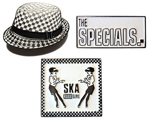 The Specials AKA Anstecknadel mit Ska-Hut, unhöfliches Mädchen, Metall, Emaille, 2-farbig