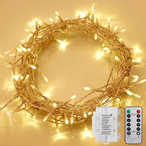 Starker 2 Stk 50er LED Lichterkette Batterie mit Fernbedienung & Timer, 8 Modi IP65 Wasserdicht Dimmbar, für Weihnacht,Hochzeit,Party,Garten,Warmweiß