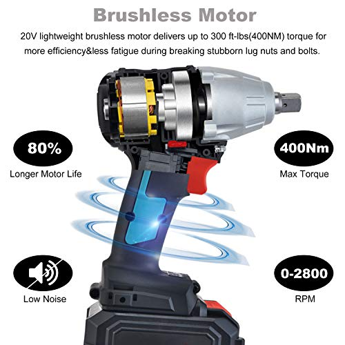 ENEACRO 20V Cordless Impact Wrench Brushless Motor 300 Ft-lb Max Torque,4.0 AH Battery with Fast Charger,3 Speed Switch,1/2 Inch Detent Anvil,Belt Clip,Carrying Case