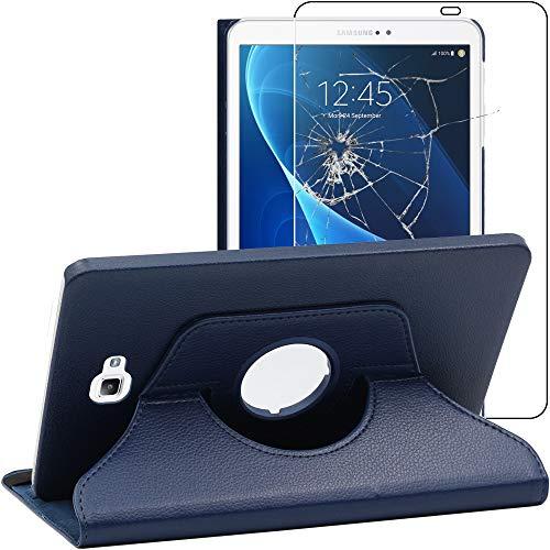 ebestStar - Cover Compatibile con Samsung Galaxy Tab A6 A 10.1 (2018, 2016) T580 T585 Custodia Pelle PU Supporto Rotazione 360, Blu Scuro +Vetro Temperato [Apparecchio:254.2x155.3x8.2mm 10.1']
