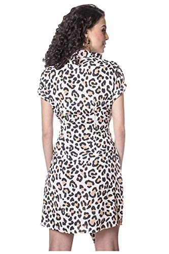 Devendi Vestido Dama Animal Print con Ajuste En Cintura M