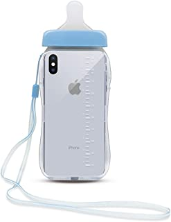 Losin Babybottle Case Compatible with Apple iPhone X Case, iPhone Xs Case for Girls Fashion 3D Baby Bottle Milk Bottle Shape Pregnant Woman Gift Transparent Soft TPU Case with Lanyard