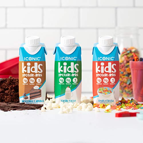 Iconic Kids Protein Shake, Sample Pack, 8oz (6 Pack, 2 each) | Zero Sugar, Vitamin D3, Organic Veggies & 8g Protein | Lactose Free, Soy Free, Gluten Free | Healthy Snacks for Kids