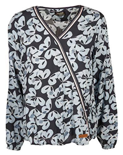 soquesto Damen Bluse mit Gummibund Größe 40 EU Blau (blau)