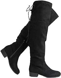 J. Adams Carmel Knee High - Suede Lace Up Closed Toe Low Heel Knee High Boot