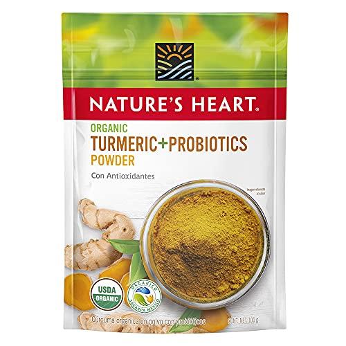 Nature's Heart Curcuma y Probioticos en polvo Organico, Cúrcuma, 100 gramos