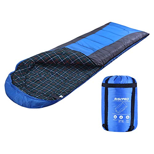 RISEPRO Flannel Sleeping Bag Lightweight, Portable, Waterproof 3-4 Seasons Warm Cold Weather...