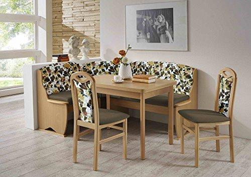 HOWE-Deko Truhen-Eckbankgruppe, Buche Natur Dekor; Eckbank, 2 Stühle und Vierfußtisch mit Auszügen; Bezug: Flachgewebe Uni braun und braun-floral; variabel aufbaubar
