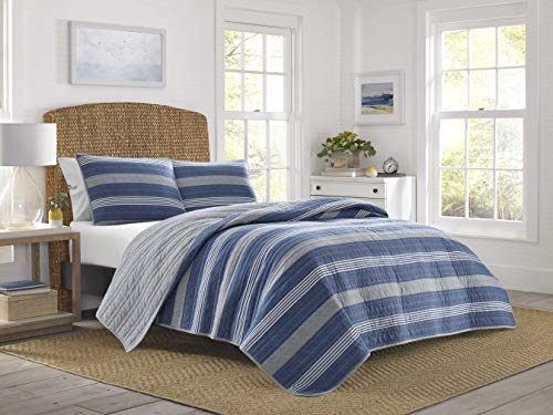 Nautica | Saltmarsh Collection | 100% Cotton Light-Weight Reversible Quilt Bedspread Matching Shams, 3-Piece Bedding Set, Pre-Washed for Softness, King, Blue