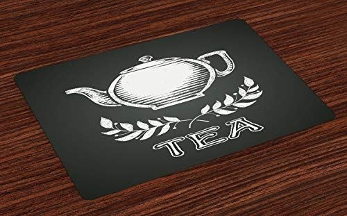 ABAKUHAUS Thee Placemat Set van 4, Theepot blad, takken Schoolbord, Wasbare Stoffen Placemat voor Eettafel, Charcoal Grey White