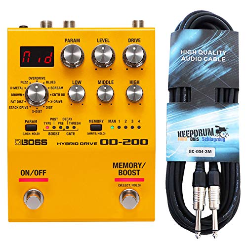 Boss OD-200 Hybrid Drive Multi-Effektgerät + keepdrum Gitarren-Kabel 3m