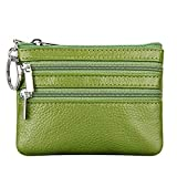 Women's Genuine Leather Coin Purse Mini Pouch Change Wallet with Keychain,green