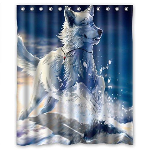 Doubee Animals Husky Wasserdichtes Duschvorhang Durable Polyester Shower Curtain 120cm x 183cm mit Haken Leicht zu pflegen