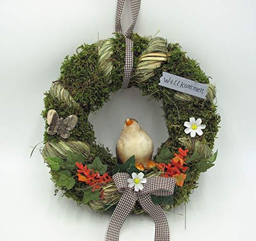 Small-Preis Türkranz Wandkranz Kranz rund mit Vogel Handarbeit ø 28 cm - Frühling - Sommer - Willkommensgruß 931
