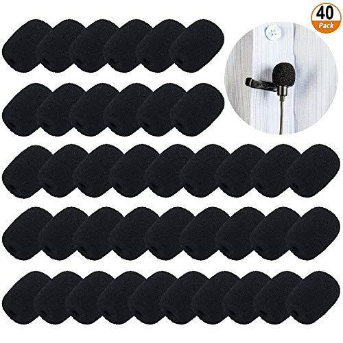 40 Pack Mini Headset Microfoon Voorruiten Schuim Microfoon Cover voor Headset Lapel Lavalier - Zwart