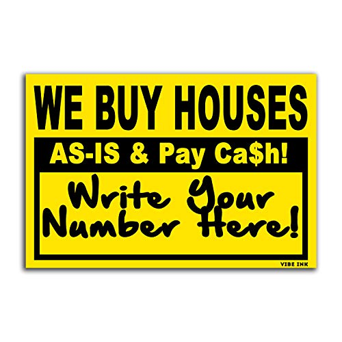 VIBE INK Bundle 100qty - WE Buy Houses - AS-is & Pay Cash - Write Your # - Wholesale 18' x 12' Bandit Signs (Black & Yellow)