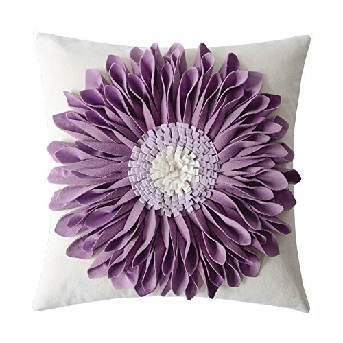 OiseauVoler Decorative 3D Flower Throw Pillow Covers Cushion Cases Handmade Square Home Sofa Bed Room Farmhouse Decor 18 x 18 Inch Purple