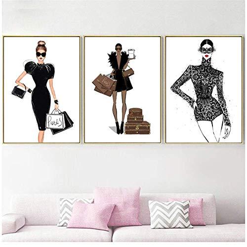 RuiChuangKeJi Fashion Meisje Rok Handtas Parijs Merk Muur Kunst Canvas Schilderen Nordic Posters En Prints Muurfoto's Voor Woonkamer Decor