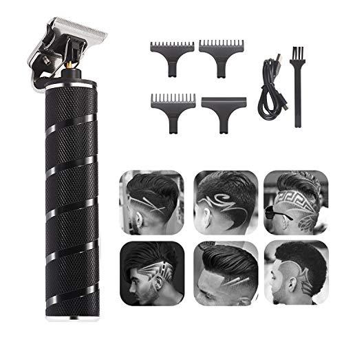 Xnuoyo Elektrische Haarschneidemaschine für Männer, T-Klingen-Haarschneidemaschine, schnurloses elektrisches Haarschneidemaschinen-Kit mit 3 Führungskämmen, tragbare Haarschneidemaschine USB(schwarz)