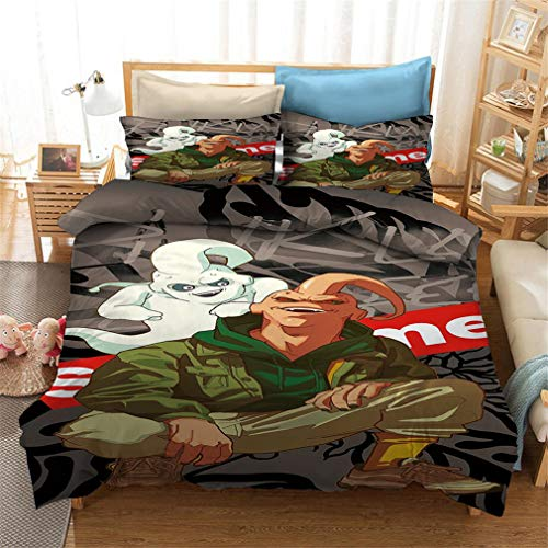 MXSS 3D Dragonball Z Anime Design Digital Printing Duvet Cover Set with Pillow Cases, for Boys Girls for Single Double King Size Bed (Dragonbal 2,King)