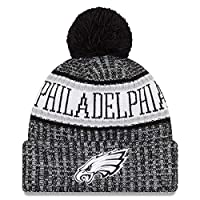 Eras edge Sideline Sport Knit Winter Fans Knit Beanie Hat Cap (Philadelphia Eagles (Black))