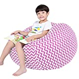Lukeight Stuffed Animal Storage Bean Bag Chair for Kids, Zipper Storage Bean Bag for Organizing Stuffed Animals, Chevron Bean Bag Chair Cover, (No Beans) X-Large