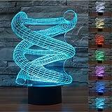 3D Illusion ADN Resumen Lámpara luces de la noche ajustable 7 colores LED Creative Interruptor táctil estéreo visual atmósfera mesa regalo para Navidad