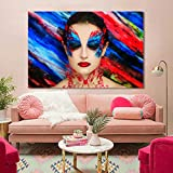 NIMCG Color de la Estrella Pintura Lienzo Arte Sala Imagen de la Pared decoración del hogar Hermosa Chica de Maquillaje Pintura de la Lona decoración (sin Marco) 50x70 cm