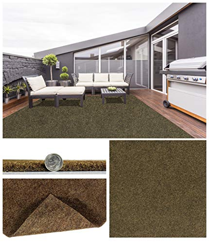 Durable Grizzly Grass Indoor / Outdoor Turf Rugs / 100% Life, Wear, and Weather Proof / Many Sizes and Colors (8' x 10', Brown Tan Pecan)